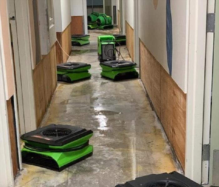 Air Movers in Hallway