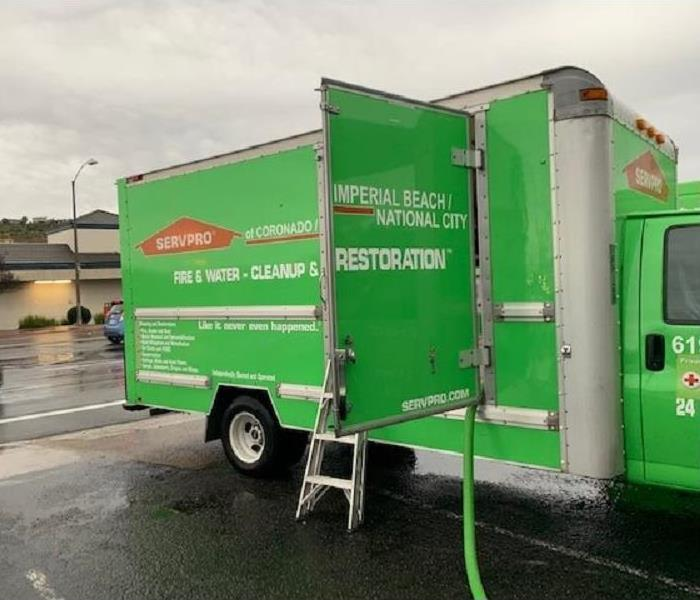 SERVPRO Van in the rain